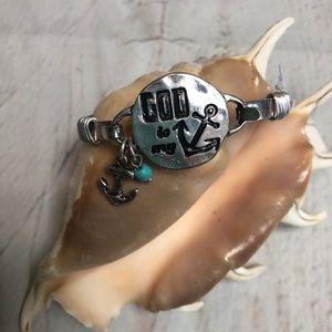 God is My Anchor Silvertone Bangle Bracelet. NWT